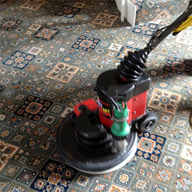 carpet cleaning in Dorset using one of our rotary bonnet carpet cleaners
